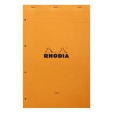 Rhodia bloc A4+ geniet gelinieerd oranje (geel papier) met perforatie