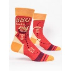 Mens Crew Socks, BBQ socks Fire it up  meat head
