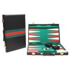 Backgammonkoffer 38 cm. zwart groen rood