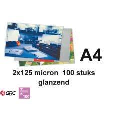 LAMINEERHOES GBC PLASTIFICEER A4 2X125MICRON 100STUKS