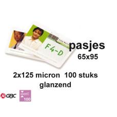 LAMINEERHOES GBC PLASTIFICEER OVERHEIDS CARD / ID 65X95MM 2X125MICRON 100STUKS