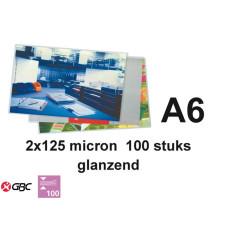 LAMINEERHOES GBC PLASTIFICEER A6 2X125MICRON 100STUKS