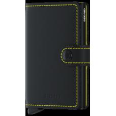 Secrid Miniwallet Matte Black Yellow  met zwarte cardprotector met ets