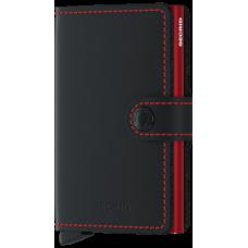 Secrid Miniwallet Matte Black met rode cardprotector met ets